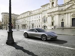 Bilder Ferrari Grau Metallisch Coupe Roma, 2020 Autos