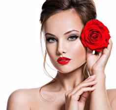 Hintergrundbilder Finger Rosen Weißer hintergrund Braune Haare Gesicht Rote Lippen Hübsche Model Mädchens