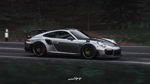 Picture Forza Horizon 4 Porsche Side Motion Silver color 911 GT2 RS by Wallpy Games Cars 3D_Graphics