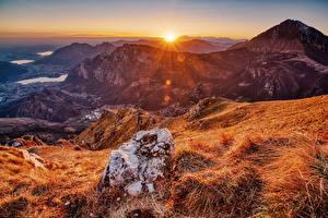 Bilder Frankreich Gebirge Herbst Sonnenaufgänge und Sonnenuntergänge Steine Sonne Pyrenees