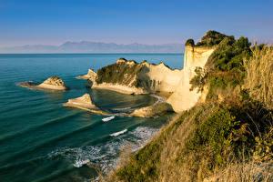 Hintergrundbilder Griechenland Wasserwelle Küste Meer Felsen Cape Drastis Corfu Natur