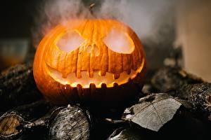 Fotos Halloween Kürbisse Rauch