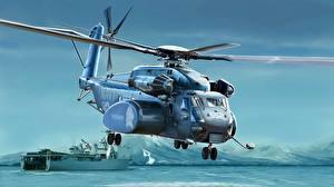 Sfondi desktop Elicottero Disegnate Americana US Navy MH-53E Sea Dragon