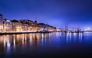 Pictures Helsinki Finland Building Marinas Night time Cities