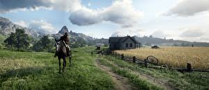 Desktop wallpapers Horses Fields Men Houses Red Dead Redemption 2 Grass vdeo game 3D_Graphics Nature