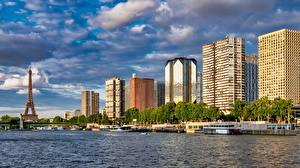 Fotos Gebäude Fluss Brücken Binnenschiff Frankreich Eiffelturm Paris Seine