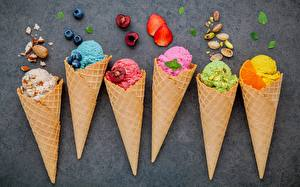 Picture Ice cream Berry Ice cream cone Multicolor Food