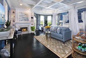 Wallpapers Interior Design Lounge sitting room Sofa Carpet Fireplace