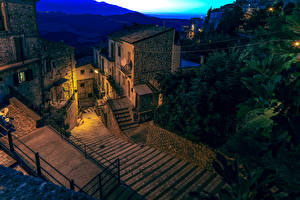 Wallpaper Italy Houses Staircase Night time Bomba Cities