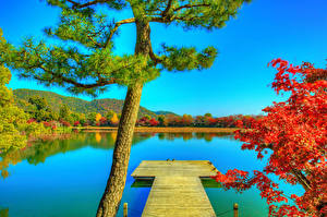 Hintergrundbilder Japan Kyōto Teich Schiffsanleger Herbst HDR Bäume Daikaku-ji Natur