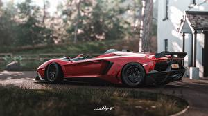 Pictures Lamborghini Forza Horizon 4 Side Red 2018 Aventador J, by Wallpy Games Cars