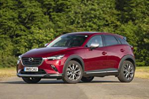 Bilder Mazda Dunkelrote Metallisch Crossover 2019 CX-3 GT Sport Nav auto