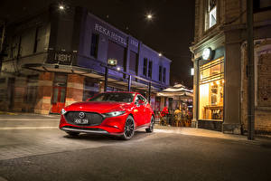 Bilder Mazda Rot Metallisch 2019 Mazda3 Skyactiv-G Hatchback