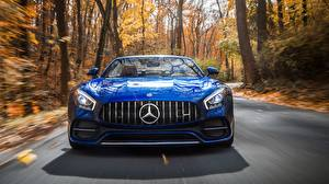 Wallpaper Mercedes-Benz Front Blue Roadster AMG 2018 GT C automobile