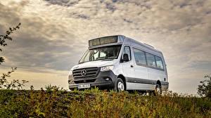 Bilder Mercedes-Benz Omnibus Weiß 2019 Sprinter City Autos