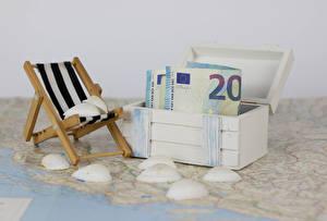 Bilder Geld Banknoten Euro Muscheln Schachtel Sonnenliege