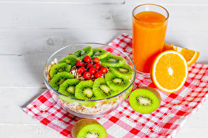 Image Muesli Juice Orange fruit Kiwifruit Tablecloth Rowan Breakfast Highball glass Food