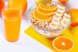 Pictures Muesli Orange fruit Juice Oatmeal Breakfast Highball glass Food
