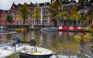 Pictures Netherlands Amsterdam Houses Marinas Canal Cities