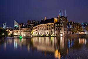 Fotos Niederlande Gebäude Teich Nacht Hague, Binnenhof