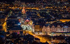 Fotos Norwegen Bergen Gebäude Abend Stadtstraße Nacht Von oben Städte