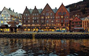 Bilder Norwegen Bergen Gebäude Flusse