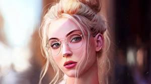 Fotos Gezeichnet Gesicht Brille Blond Mädchen Frisur Fantasy Mädchens