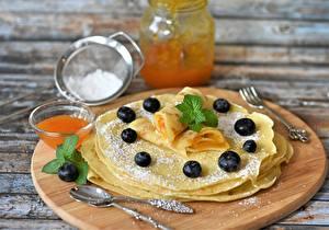 Wallpapers Pancake Jam Blueberries Cutting board Spoon