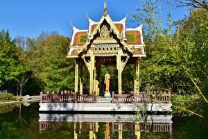 桌面壁纸,,公园,小雁塔,慕尼黑,池塘,德国,巴伐利亚,Westpark, Thai Tempel,