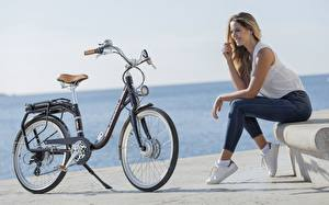 Pictures Bicycles Sitting Jeans Smile Peugeot eLC01 Girls