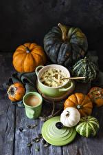 Picture Porridge Pumpkin Cappuccino Kaki Wood planks Spoon Highball glass Grain