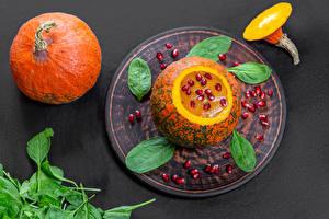 Bilder Kürbisse Granatapfel Brei Getreide Basilikum das Essen