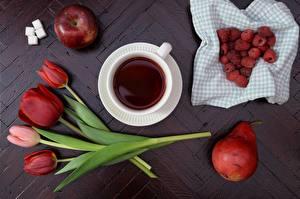 Fotos Himbeeren Äpfel Birnen Tulpen Tee Zucker