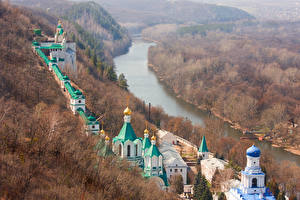Pictures Rivers Forests Autumn Ukraine Monastery Sviatohirsk Lavra Nature