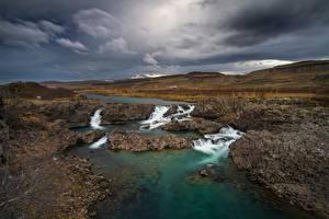 Fotos Flusse Wasserfall Island Glanni Waterfall Natur