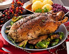 Fotos Hühnerbraten Teller das Essen