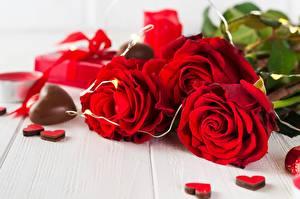 Fotos Rose Schokolade Valentinstag Rot Herz Blüte
