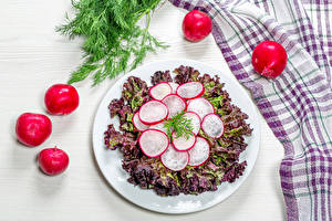 Wallpaper Salads Vegetables Radishes Dill Plate