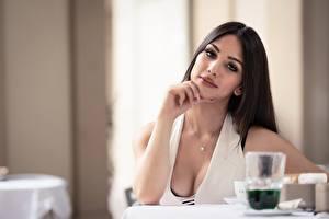 Bilder Bokeh Posiert Dekolleté Haar Starren Brünette Sara