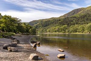 Hintergrundbilder Schottland See Gebirge Küste Stein Loch Lubnaig