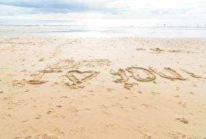 Picture Sea Sand Beaches English Word - Lettering I love you Nature