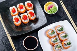 Hintergrundbilder Meeresfrüchte Sushi Caviar Essstäbchen Sojasauce