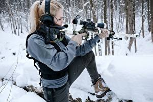 Pictures Sniper rifle Winter Snipers Blonde girl Headphones Pose DVL-10 M2 Urbana young woman Army