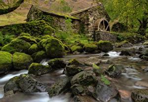 Bilder Steine England Laubmoose Wassermühle Cumbria, Borrowdale Valley