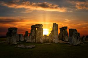 Pictures Sunrises and sunsets England Fireplace Wiltshire, Stonehenge Nature