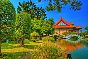 Hintergrundbilder Taiwan China Tempel Flusse Brücken Teich HDR Bäume Chiang Kai-shek Memorial Taipei