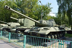 Hintergrundbilder Panzer Museum Zaun Russischer KV-2, Is-2