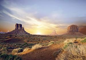 Fotos USA Morgendämmerung und Sonnenuntergang Felsen Arizona, Monument valley, Colorado plateau Natur
