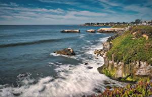 Hintergrundbilder USA Wasserwelle Ozean Kalifornien Bucht Felsen Laubmoose Santa Cruz