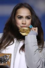 Photo Brunette girl Glance Hands Medal Kiss Alina Zagitova Celebrities Girls